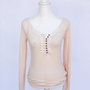 FREE PEOPLE HEAD TO WEST TOP IN LIGHT PINK/CREAM